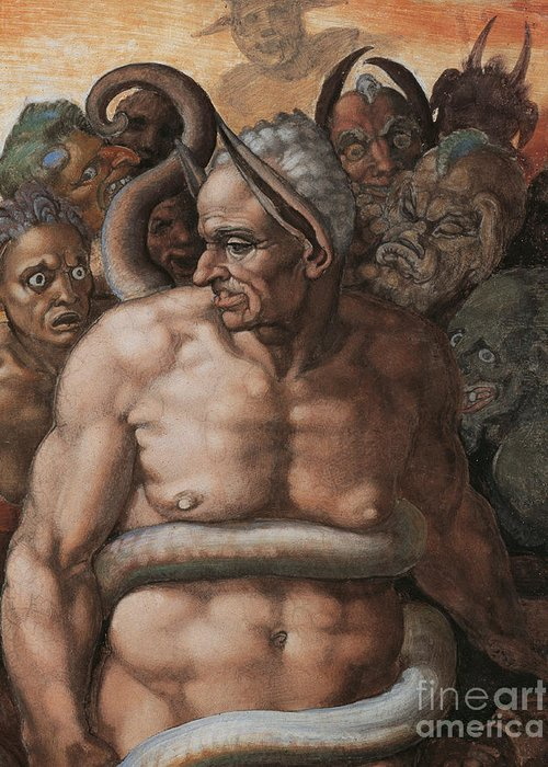 Michelangelo Prints Greeting Card featuring the painting Detail Of The Last Judgment by Michelangelo