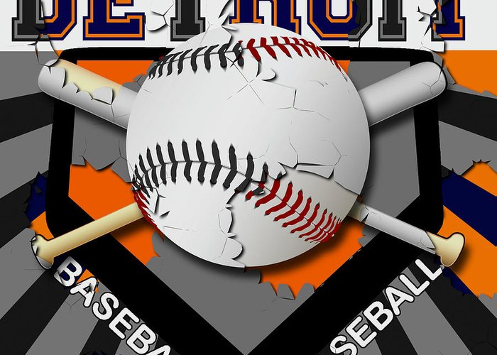 Detroit Greeting Card featuring the digital art Detroit Baseball by David G Paul