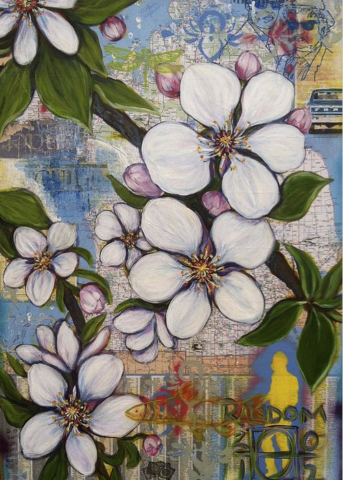 Apple Blossom Greeting Card featuring the painting Detroit Blooms by Andrea LaHue aka Random Act
