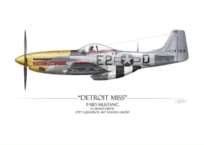 Aviation Greeting Card featuring the painting Detroit Miss P-51d Mustang - White Background by Craig Tinder