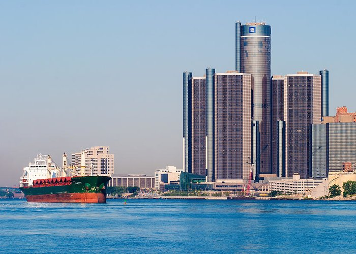 Detroit Greeting Card featuring the photograph Detroit Renaissance Center by James Marvin Phelps
