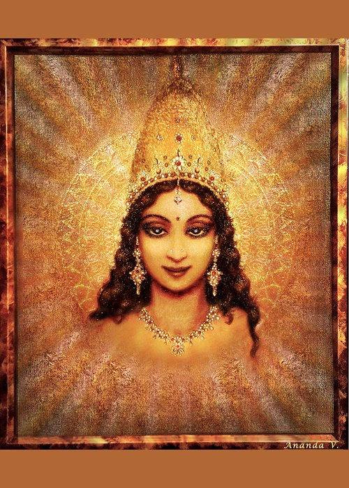 Goddess Painting Greeting Card featuring the mixed media Devi Darshan by Ananda Vdovic