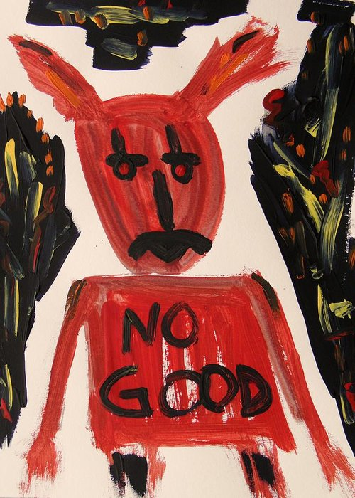 Mcw Greeting Card featuring the painting devil with NO GOOD tee shirt by Mary Carol Williams