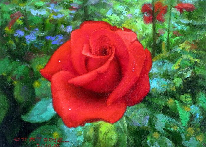 Dew Greeting Card featuring the painting Dew Soaked Rose by Yoo Choong Yeul