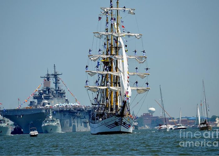 Tall Ship Greeting Card featuring the photograph Dewaruci by Brenda Dorman