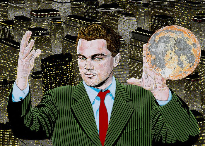 Leo Greeting Card featuring the painting Di Caprio by Alan Morrison