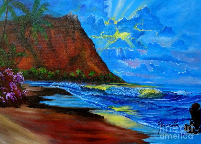 Diamond Head Hawaii Greeting Card featuring the painting Diamond Head Blue by Jenny Lee