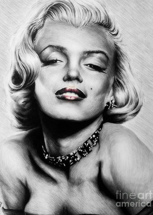 Marilyn Greeting Card featuring the drawing Diamonds Are A Girls Best Friend  Hot Lips Edition by Andrew Read