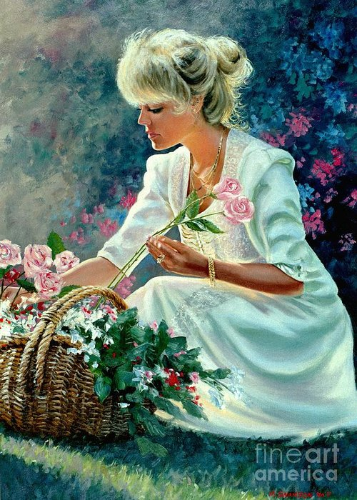 Girl With Flowers Greeting Card featuring the painting Diane by Michael Swanson