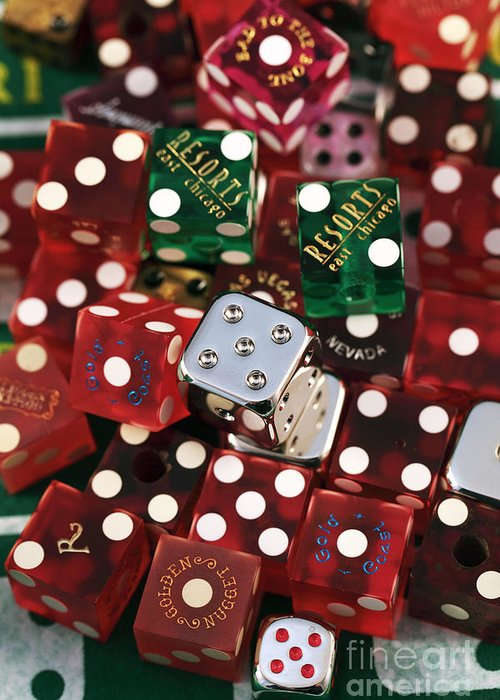 Lots Of Dice Greeting Card featuring the photograph Dice by John Rizzuto