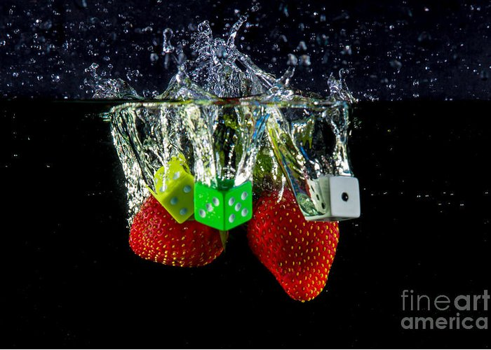 Dice Greeting Card featuring the photograph Dice Splash by Rene Triay Photography