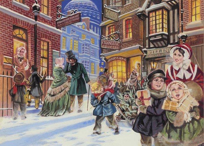 Dickensian Christmas Scene Greeting Card featuring the painting Dickensian Christmas Scene by Angus McBride