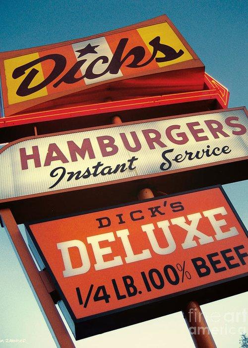 Burgers Greeting Card featuring the digital art Dick's Hamburgers by Jim Zahniser