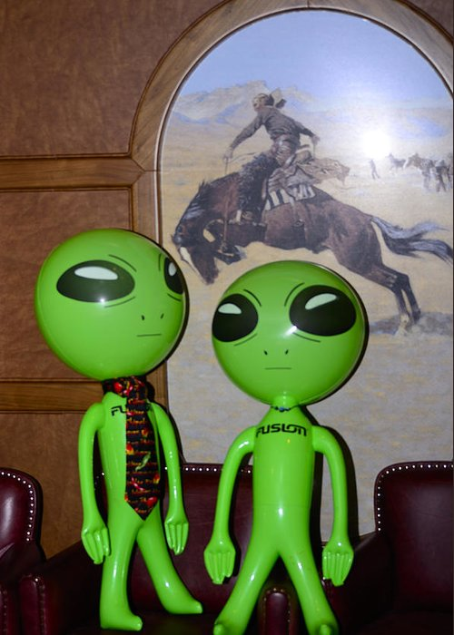 Aliens Greeting Card featuring the photograph Did the Aliens Spook A Horse by Richard Henne