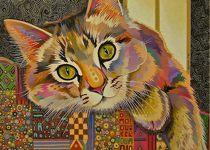 Feline Art Greeting Card featuring the painting Diego by Bob Coonts