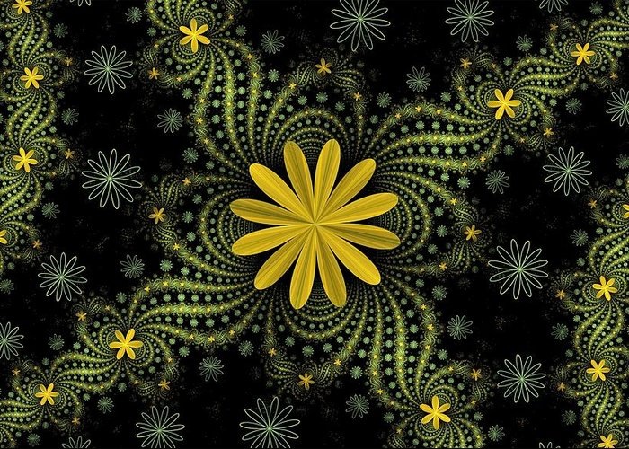 Fractal Greeting Card featuring the digital art Digital Flowers by Sandy Keeton