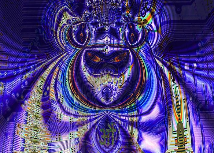 <a> Abstract Greeting Card featuring the digital art Digital Loop Entity by Jason Saunders