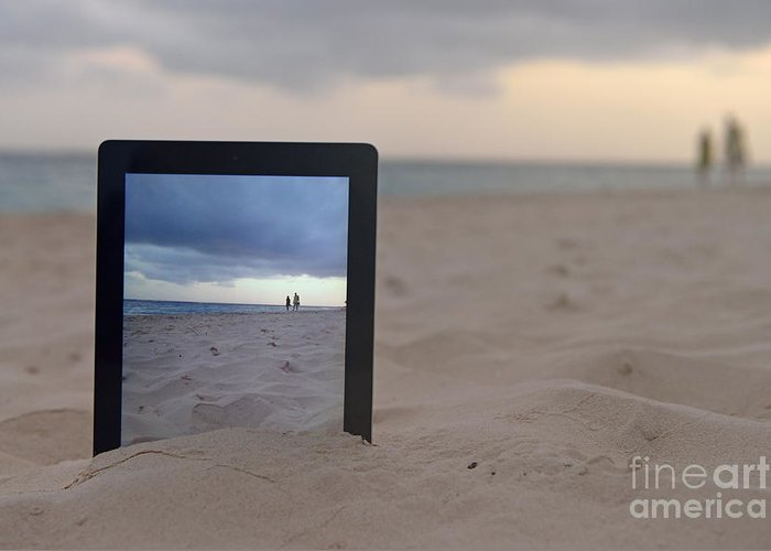 People Greeting Card featuring the photograph Digital Tablet In Sand On Beach by Sami Sarkis