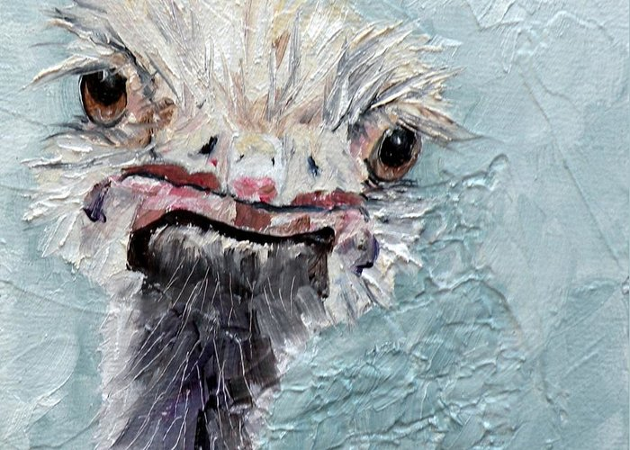 Ostrich Greeting Card featuring the painting Dimples - An Ostrich by Saundra Lane Galloway
