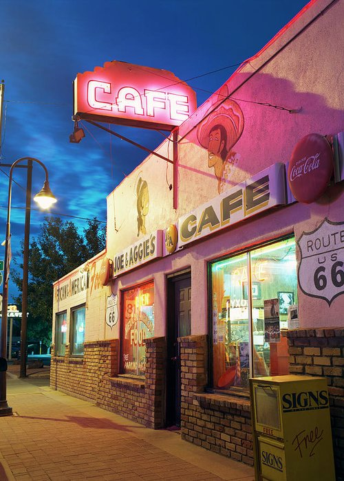 Shadow Greeting Card featuring the photograph Diner Along Route 66 At Dusk by Gary Yeowell