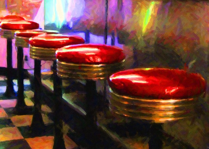 Diner Stool Greeting Card featuring the photograph Diner - V2 - Square by Wingsdomain Art and Photography