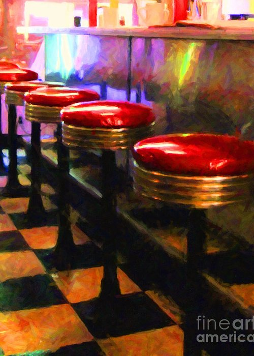 Diner Stool Greeting Card featuring the photograph Diner - V2 by Wingsdomain Art and Photography