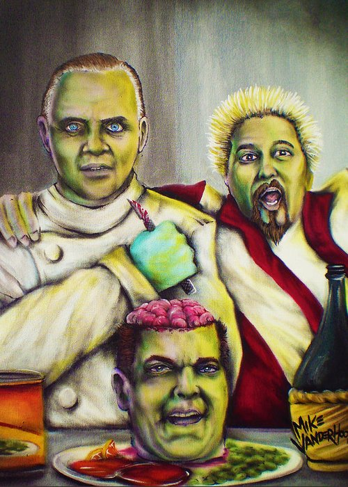 Hannibal Lechter Greeting Card featuring the painting Diners Drive-ins And Fava Beans And Chianti by Mike Vanderhoof