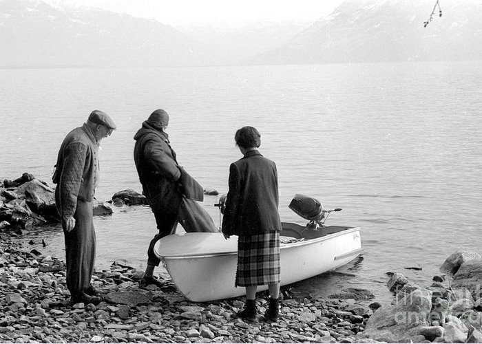 Boat Greeting Card featuring the photograph Dingie On The Tegernsee by Julie Von Knorr Wedekind