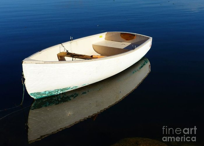 Dingy Greeting Card featuring the photograph Dingy Reflection by Christine Stack