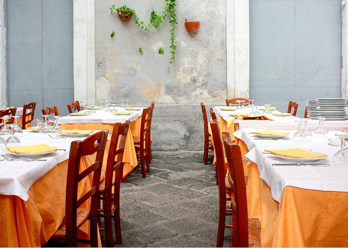 Dining Greeting Card featuring the photograph Dining Alfresco In Italy by Annie DeMilo