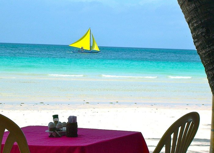 White Beach Greeting Card featuring the photograph Dining At White Beach by Pam Lakes