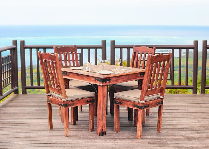 Al Fresco Greeting Card featuring the photograph Dining Table by Tom Gowanlock