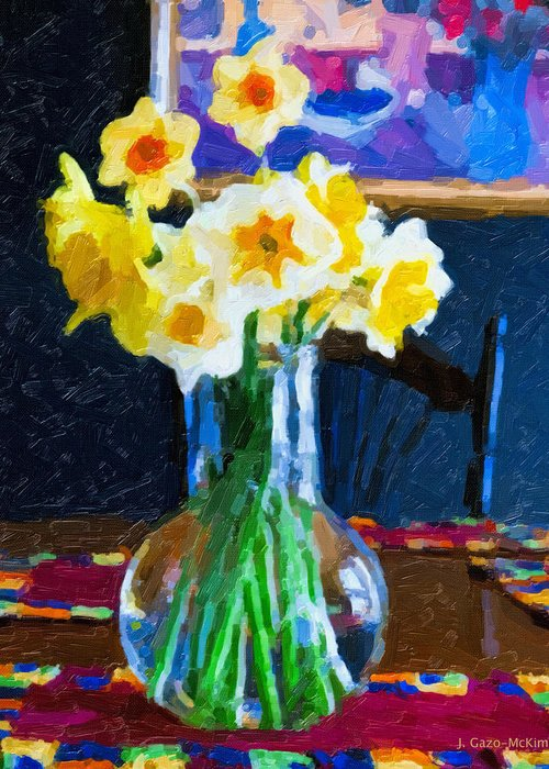 Flowers Greeting Card featuring the digital art Dining With Daffodils by Jo-Anne Gazo-McKim