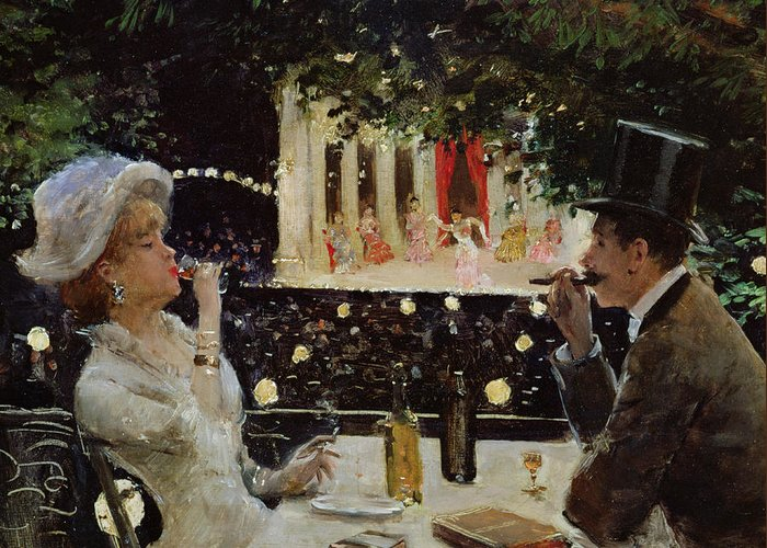 Couple; Entertainment; Evening; Smoking; Prostitute; Tart; Drinking; Paris; Restaurant; Theatre; Dining; Diner Aux Ambassadeurs; Couple Greeting Card featuring the painting Dinner At Les Ambassadeurs by Jean Beraud