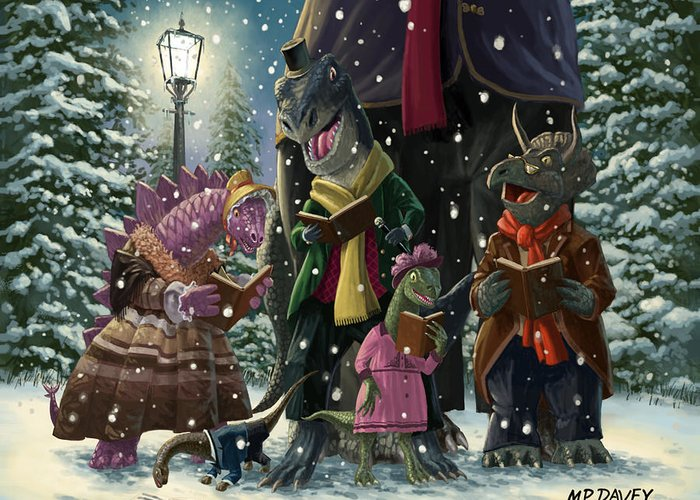 Christmas Greeting Card featuring the painting Dinosaur Carol Singers by Martin Davey