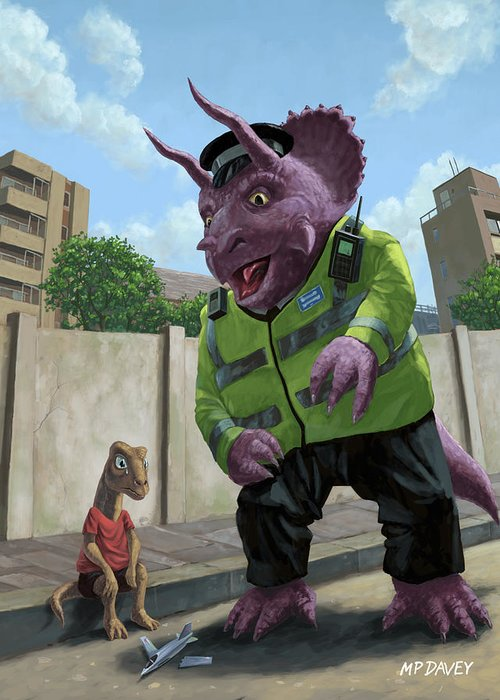 Dinosaur Greeting Card featuring the painting Dinosaur Community Policeman Helping Youngster by Martin Davey