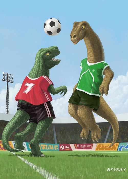 Dinosaur Greeting Card featuring the painting Dinosaur Football Sport Game by Martin Davey
