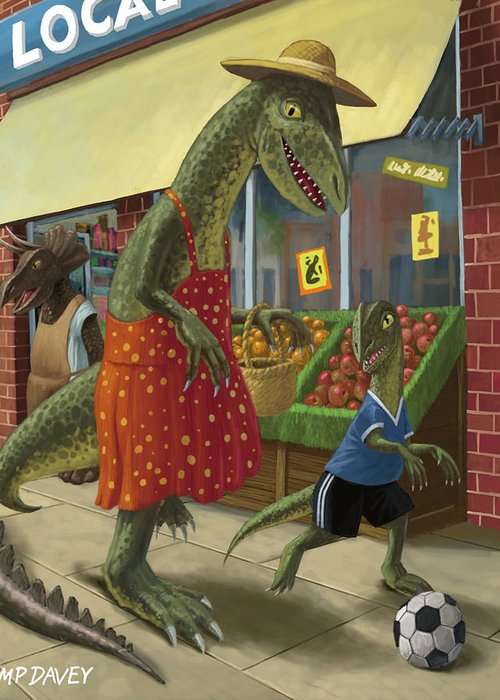 Dinosaur Greeting Card featuring the painting Dinosaur Mum Out Shopping With Son by Martin Davey