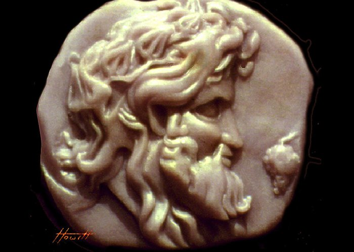 Dionysos Greeting Card featuring the sculpture Dionysus by Patricia Howitt