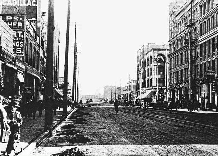 Spokane Greeting Card featuring the photograph Downtown Dirt Spokane C. 1895 by Daniel Hagerman