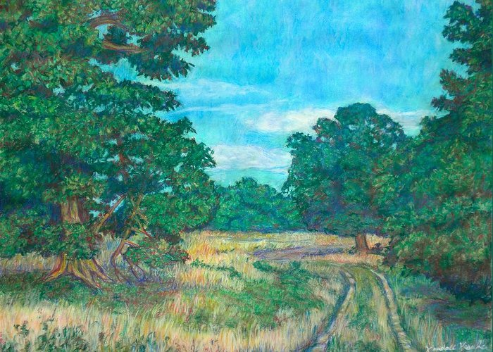 Landscape Greeting Card featuring the painting Dirt Road Near Rock Castle Gorge by Kendall Kessler
