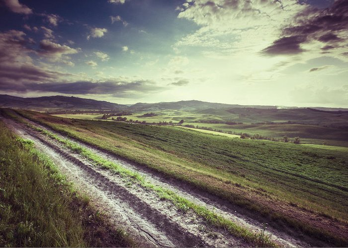 Steppe Greeting Card featuring the photograph Dirt Track In Tuscany by Xavierarnau