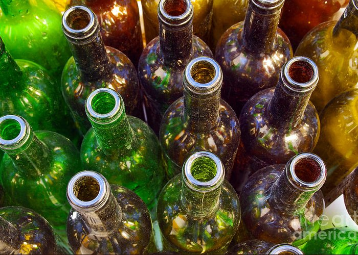 Abstract Greeting Card featuring the photograph Dirty Bottles by Carlos Caetano