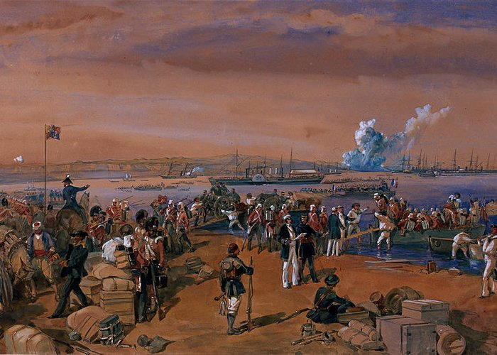 Russian Port Greeting Card featuring the drawing Disembarkation - Kerch, 24 May 1855 by William 'Crimea' Simpson