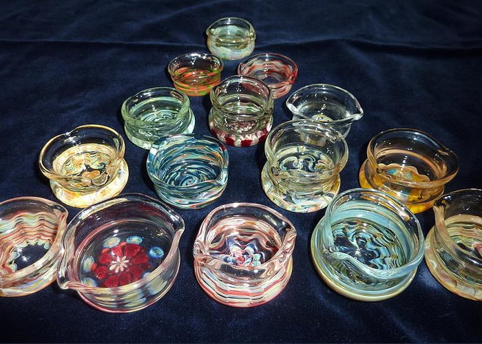 Glass Dabber Greeting Card featuring the glass art Dishes by Glass Dabber