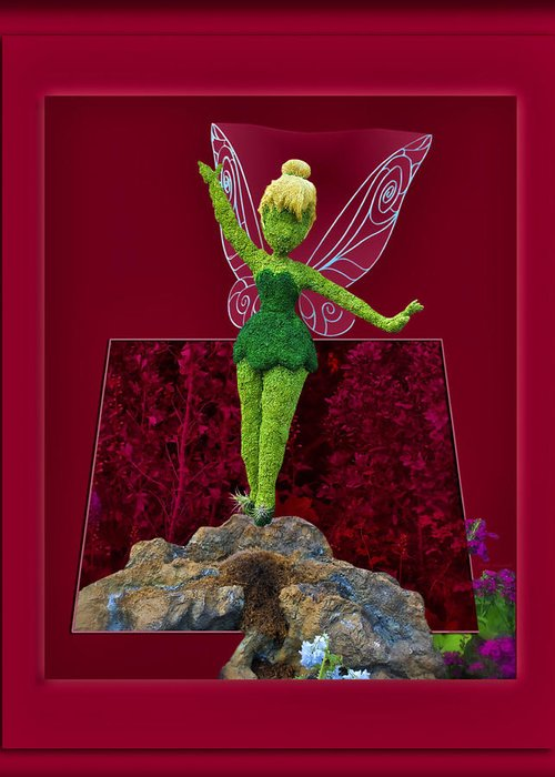 Tinker Bell Greeting Card featuring the digital art Disney Floral Tinker Bell 02 by Thomas Woolworth