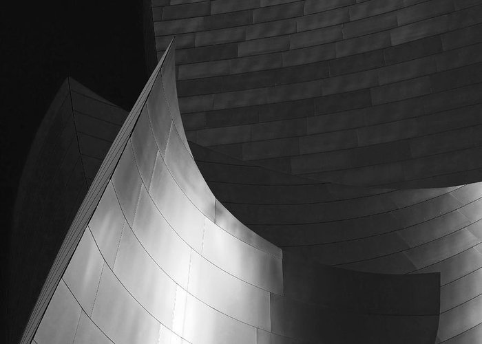 Walt Disney Concert Hall Greeting Card featuring the photograph Disney Hall Abstract Black And White by Rona Black