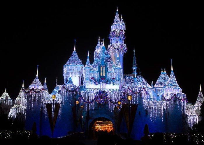Cinderella Castle Christmas Lights.Disneyland Castle Christmas Lights Greeting Card