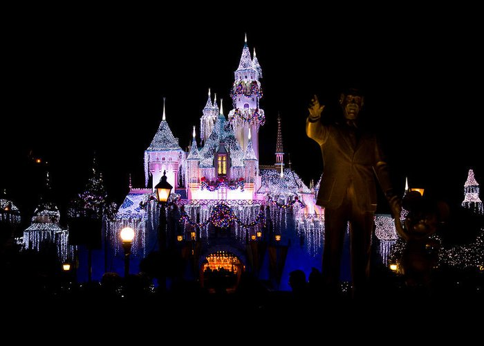 Disneyland Greeting Card featuring the photograph Disneyland Christmas Castle by Anthony Duty