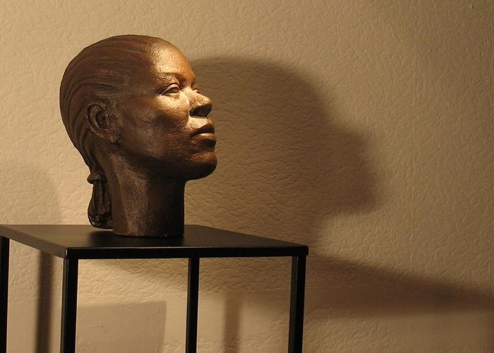 Head Greeting Card featuring the sculpture Display Sculpture - 2 by Flow Fitzgerald